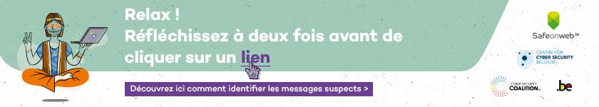Lien vers la campagne phishing de Safeonweb
