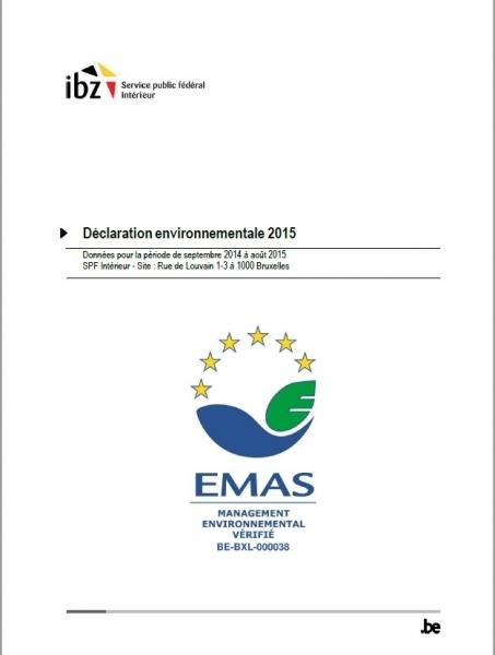 Le SPF Intérieur obtient l'enregistrement EMAS