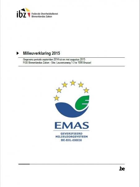 FOD Binnenlandse Zaken behaalt EMAS-registratie